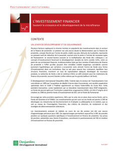 l`investissement financier - Développement international Desjardins