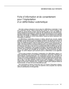 Implantation de défibrilateur