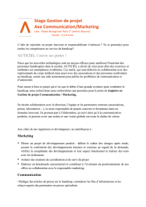 Stage Gestion de projet Axe Communication/Marketing