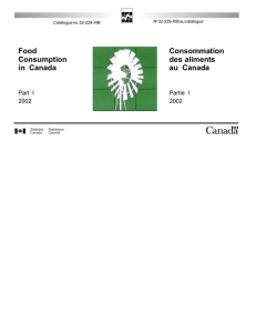 Food Consumption in Canada Consommation des aliments au