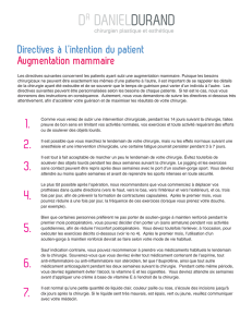 Directives à l`intention du patient Augmentation mammaire
