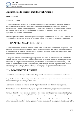 Diagnostic de la sinusite maxillaire chronique