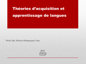 Théories d`acquisition et apprentissage de langues