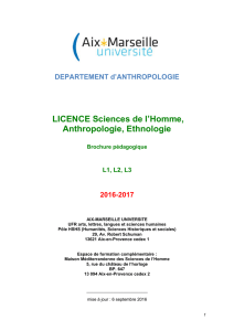 LICENCE Sciences de l`Homme, Anthropologie, Ethnologie