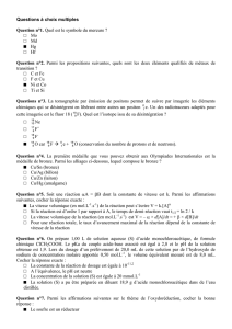 Correction du QCM - Les Olympiades Internationales de Chimie