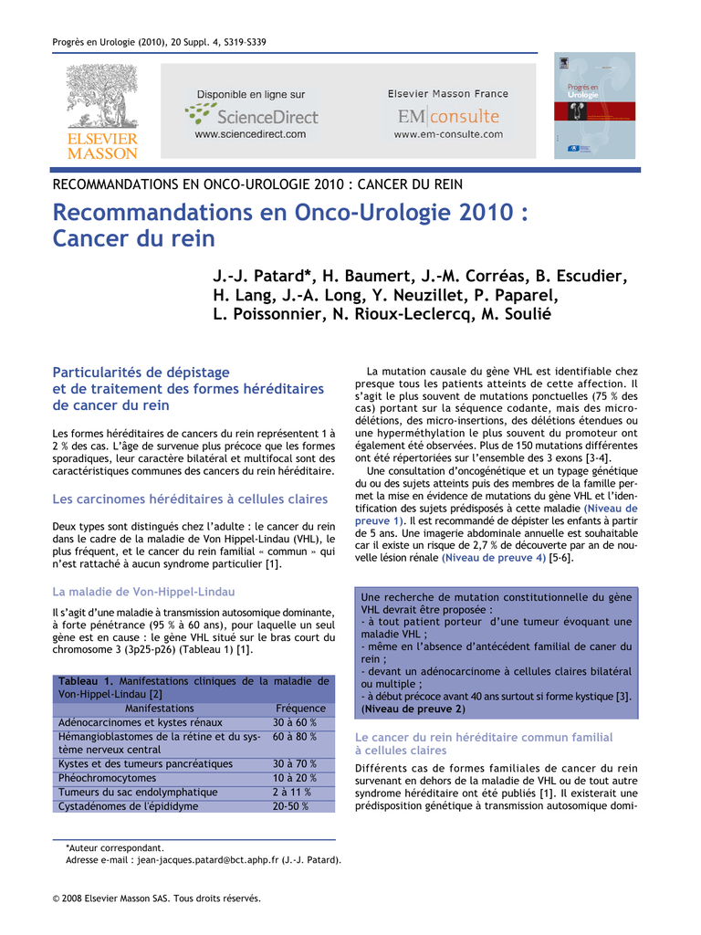Recommandations en Onco-Urologie 2010 : Cancer du