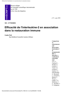 Efficacité de l`interleukine-2 en association dans la restauration