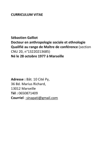 CURRICULUM VITAE Sébastien Galliot Docteur en anthropologie