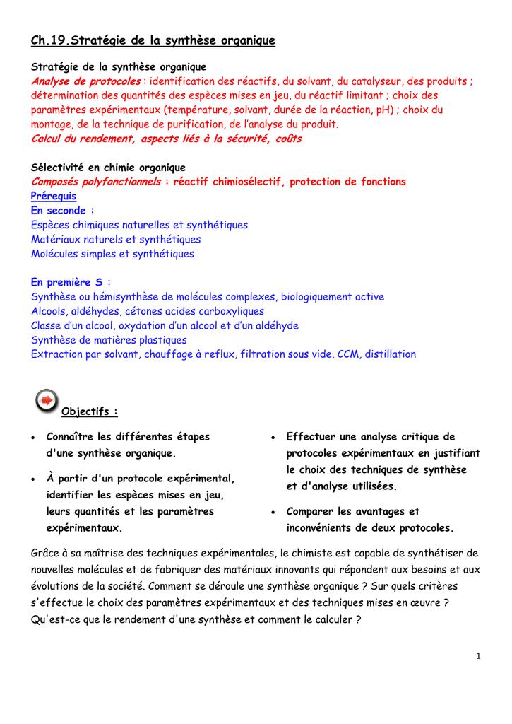 Ch 19 Strategie De La Synthese Organique