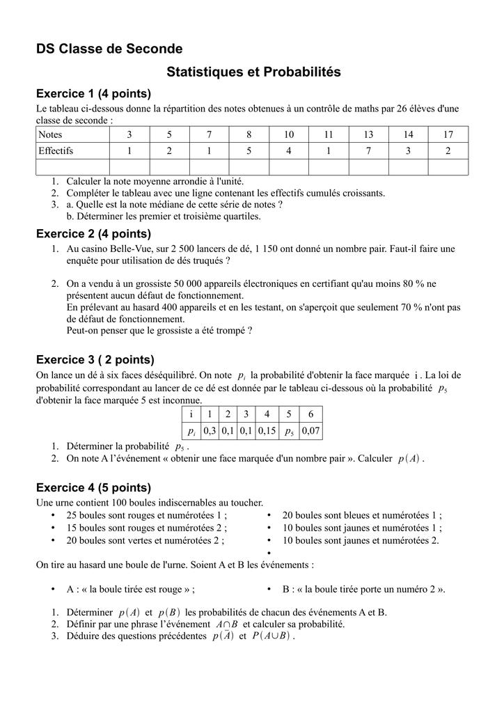 Ds Classe De Seconde Statistiques Et Probabilites