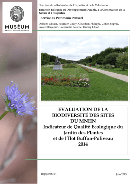 EVALUATION DE LA BIODIVERSITÉ DES SITES DU MNHN