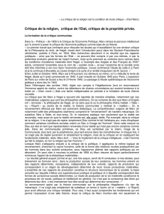 Critique de la religion, critique de l`Etat, critique