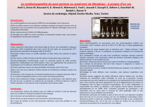 La cardiomyopathie du post-partum ou syndrome de Meadows