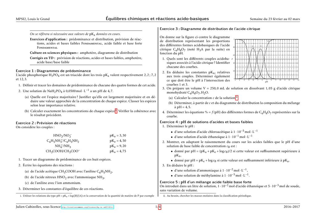 Equilibres Chimiques Et Reactions Acido