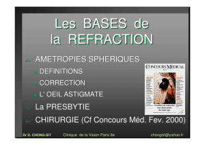 Les BASES de la REFRACTION Les BASES de la REFRACTION