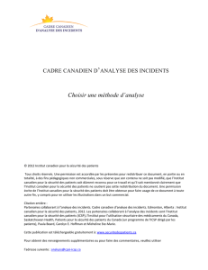 Choisir une méthode d`analyse - Canadian Patient Safety Institute