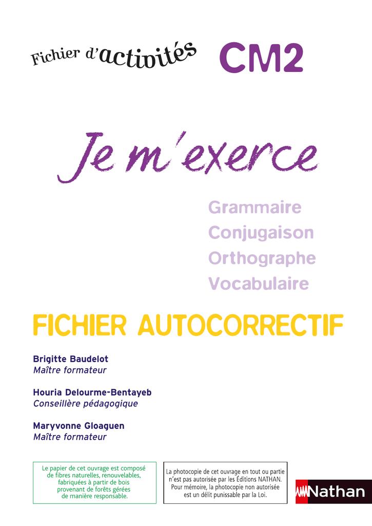 Je M Exerce Fichier Autocorrectif Cm2