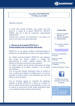 Newsletter BAUERFEIND N°2 Mars/Avril 2015