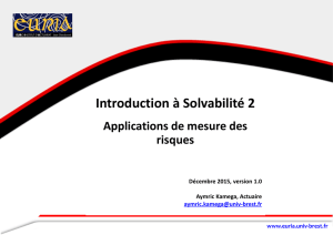 Introduction à Solvabilité 2 - Applications de mesures des risques