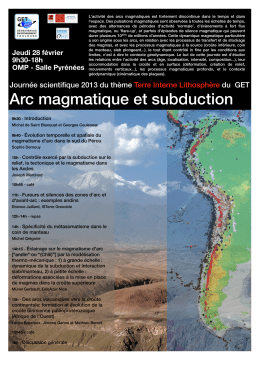 Arc magmatique et subduction