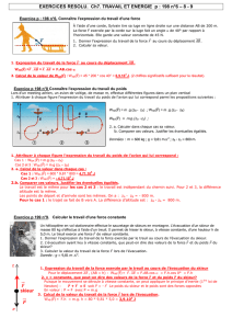 EXERCICES RESOLU. Ch7. TRAVAIL ET ENERGIE p : 198 n°6 – 8