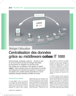 centralisation des donnees grace au cobas IT 1000