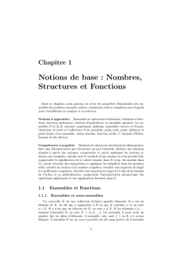 Notions de base : Nombres, Structures et Fonctions