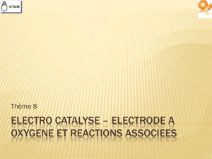 electro catalyse – electrode a oxygene et reactions associees