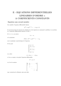 E - EQUATIONS DIFFERENTIELLES LINEAIRES D`ORDRE n A