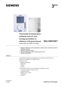 Notice thermostat Siemens - RDJ10RF