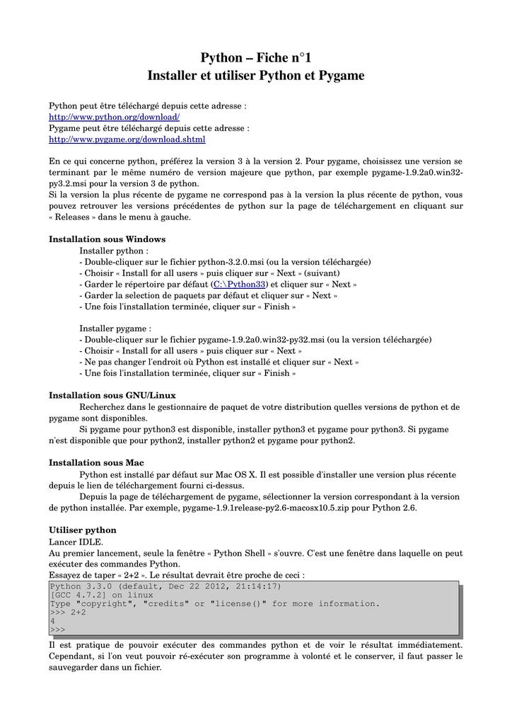 Python – Fiche n°1 Installer et utiliser Python et Pygame