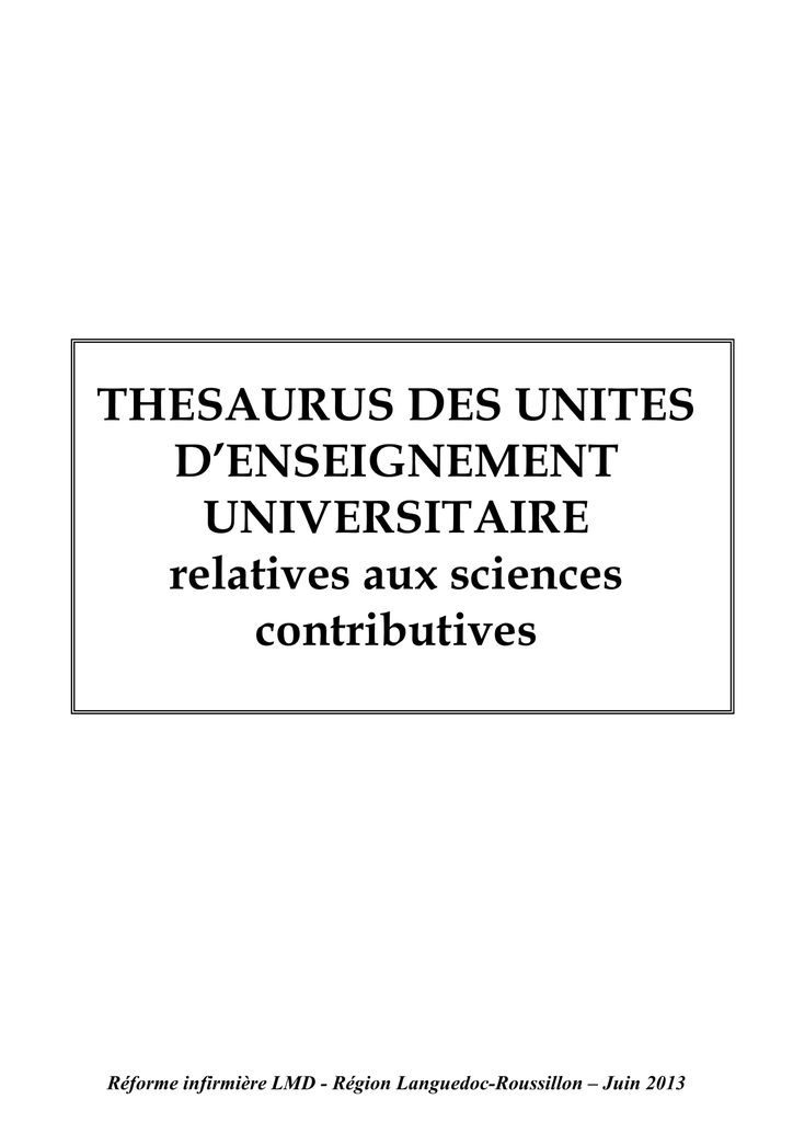 THESAURUS DES UNITES D`ENSEIGNEMENT UNIVERSITAIRE