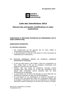 Liste des interdictions 2015