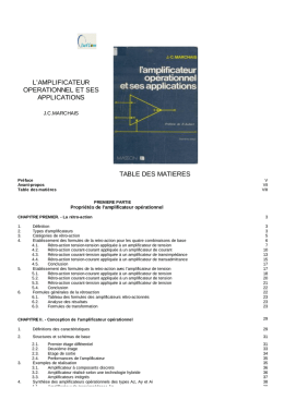 l`amplificateur operationnel et ses applications table des