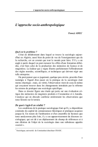 L`approche socio-anthropologique