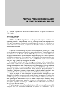 peut-on prescrire hors amm ? le point de vue de l`expert