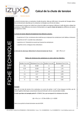 Fiche technique - Calcul de la chute de tension