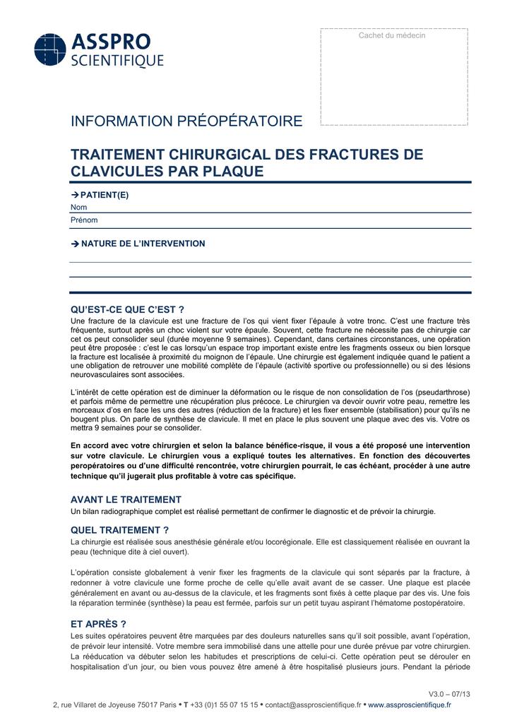 Fracture de clavicule par plaque - Lyon-Ortho