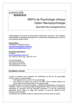 M2Pro de Psychologie clinique Option Neuropsychologie
