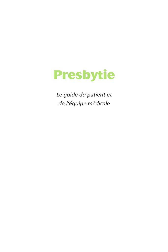Presbytie: Rapport SFO 2012 (French Edition)