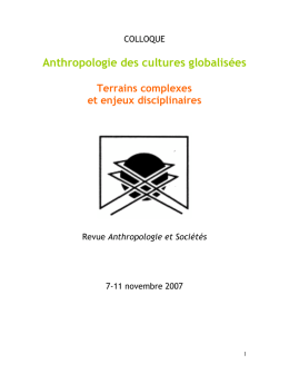 Colloque international - Anthropologie du présent