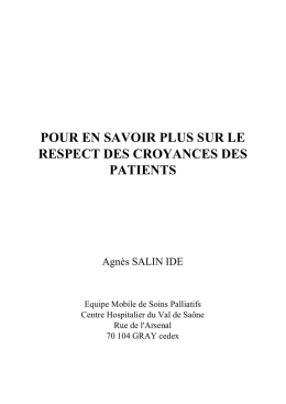 Guide respect des croyances des patients