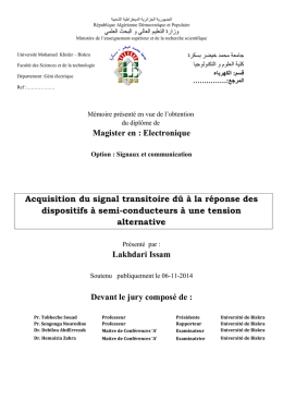 Magister en : Electronique Acquisition du signal transitoire dû à la