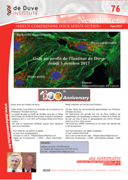 Newsletter - de Duve Institute