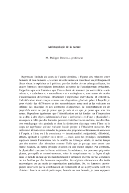 Anthropologie de la nature M. Philippe DESCOLA, professeur