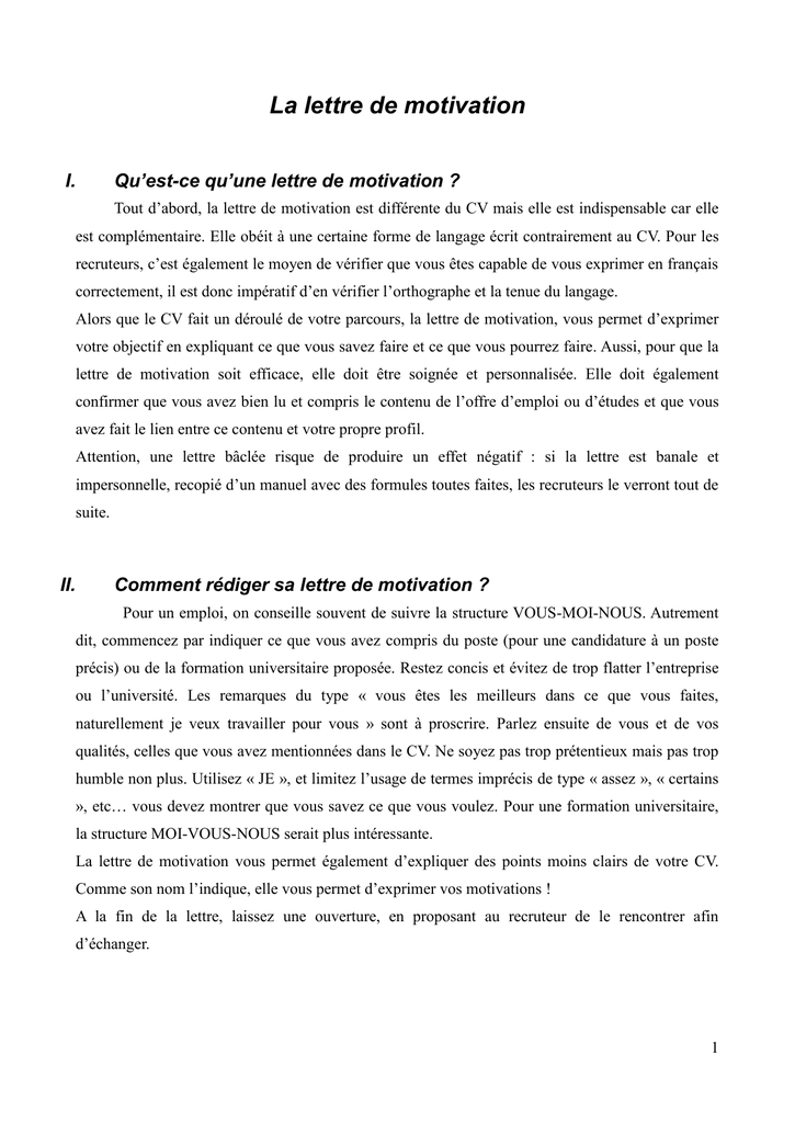 lettre de motivation institut francais