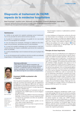 Diagnostic et traitement de l`AOMI: aspects de la médecine