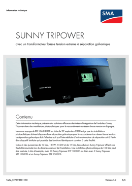 SUNNY TRIPOWER - avec un transformateur basse tension