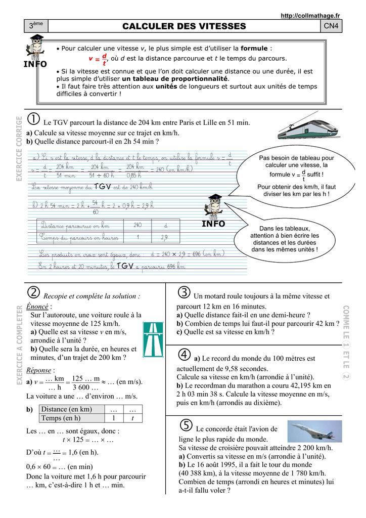 Cn4 Calculer Des Vitesses Docx