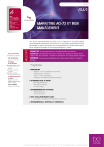 MARKETING ACHAT ET RISK MANAGEMENT